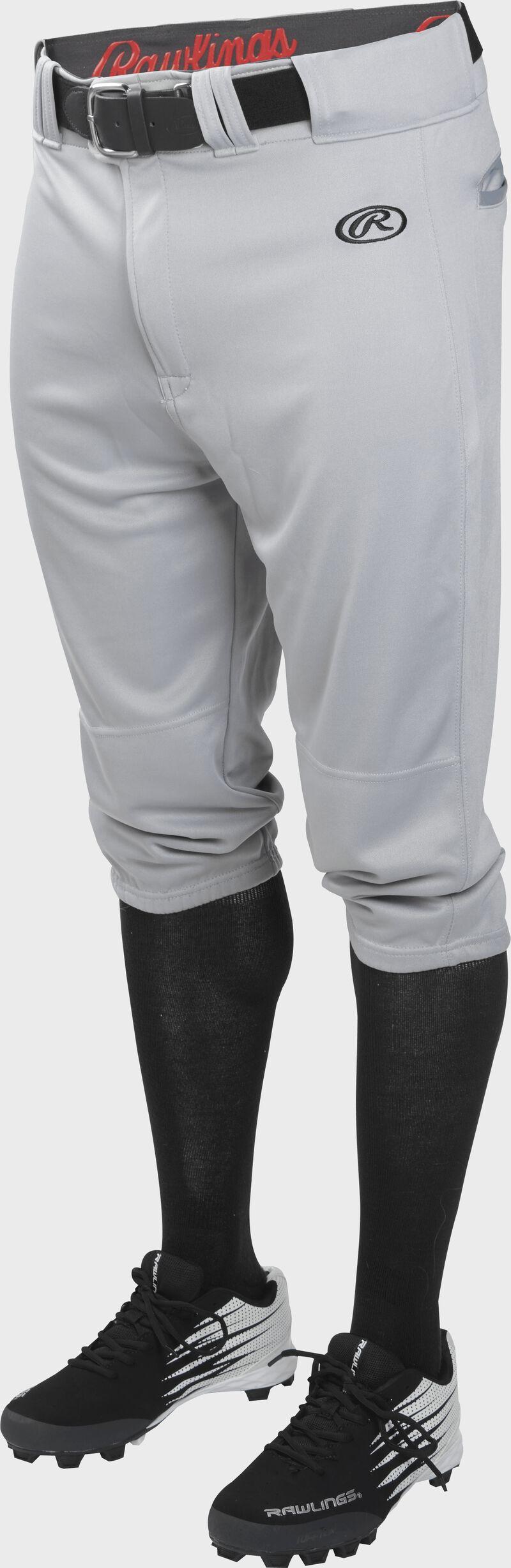 Front of Rawlings Blue Gray Adult Launch Knicker Baseball Pant - SKU #LNCHKP