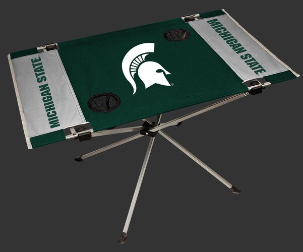 A green/white NCAA Michigan State Spartans endzone table with two cup holders and team logo printed in the middle SKU #04053038111