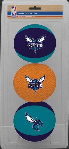 Rawlings Purple, Brown, and Teal NBA Charlotte Hornets Three-Point Softee Basketball Set With Team Logo SKU #03524204114