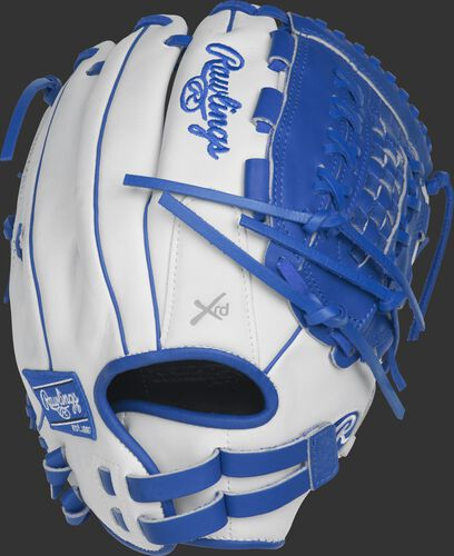 RLA125-18WR 12.5-inch Liberty Advanced outfield/pitcher's fastpitch glove with a white back and Pull-Strap back design