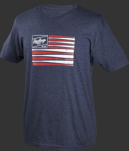 A navy Rawlings bat flag short sleeve shirt with an American flag themed logo printed on the chest - SKU: FLM3