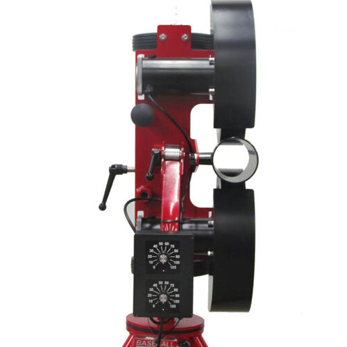 Back of Rawlings Spin Pro 2 Wheel Softball Pitching Machine Showing Adjustable Speeds and Ball Insert SKU #RPM2SB