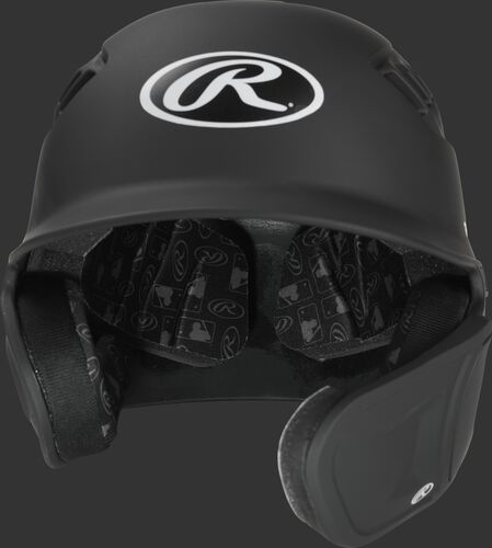 Front of a Velo baseball helmet with an Oval-R logo and extension piece for a right handed batter - SKU: R6E07R