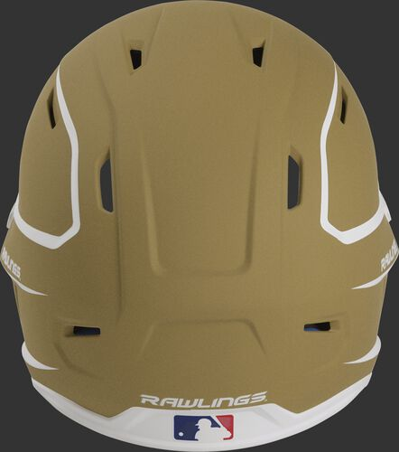 Back of a vegas gold/white MACH high performance senior helmet with the Official Batting Helmet of MLB logo