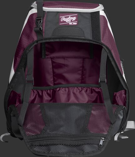 An open R500 Rawlings Players equipment backpack with maroon interior