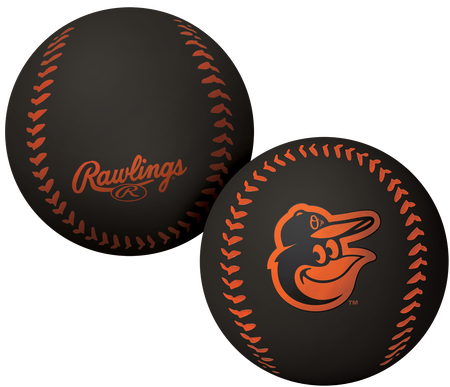 A black Baltimore Orioles Big Fly rubber bounce ball