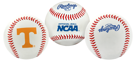 3 views of a NCAA Tennessee Volunteers baseball with a team logo, NCAA logo and Rawlings logo
