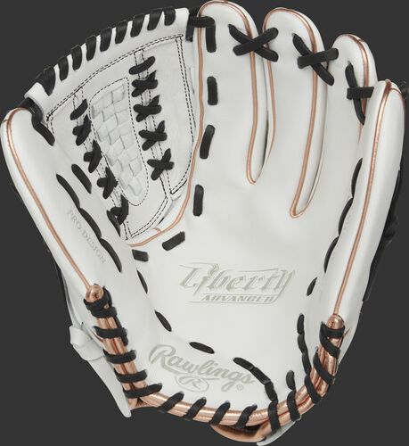 RLA125-18RG Rawlings Liberty Advanced Color Series glove with a white palm and black laces