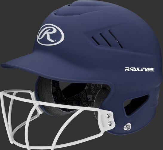 A navy RCFHLFG Coolflo batting helmet with a white facemask