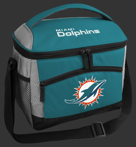 A Miami Dolphins 12 can soft sided cooler with a team logo on the front - SKU: 10111074111