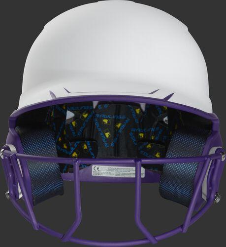 Front of a white/purple Mach fastpitch softball helmet with a purple mask - SKU: MSB13S-W/PU