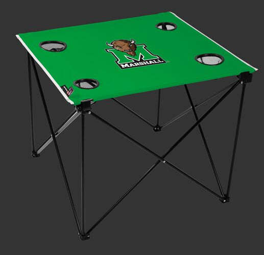 A green NCAA Marshall Thundering Herd deluxe tailgate table with four cup holders and team logo printed in the middle SKU #00713036111