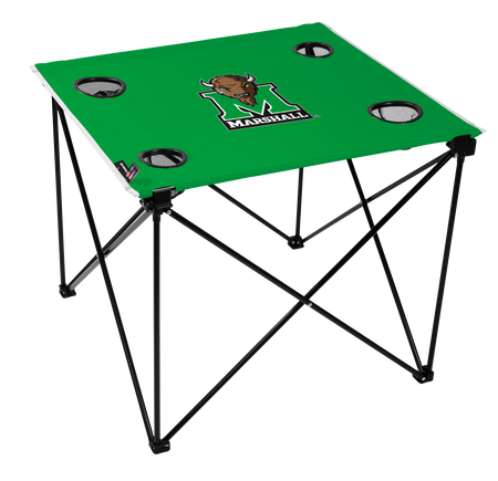 A green NCAA Marshall Thundering Herd deluxe tailgate table with four cup holders and team logo printed in the middle