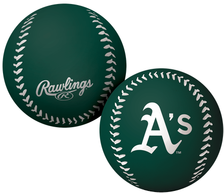 A green Oakland Athletics Big Fly rubber bounce ball