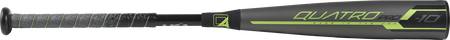 Barrel view of a US9Q10 2019 Quatro Pro USA baseball bat with a grey barrel and green/black accents