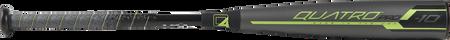 Barrel view of a US9Q10 2019 Quatro Pro USA baseball bat with a grey barrel and green/black accents