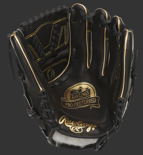 Black palm of a Rawlings Pro Preferred infield/pitcher's glove with gold stamping and black laces - SKU: PROS205-30BG