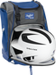 A white/black helmet in the main compartment of a royal Rawlings Franchise backpack - SKU: FRANBP-R image number null