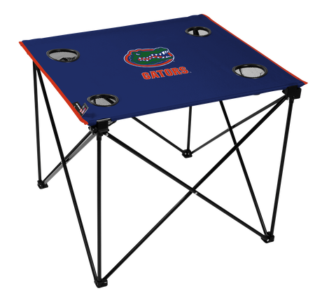A blue NCAA Florida Gators deluxe tailgate table with four cup holders and team logo printed in the middle
