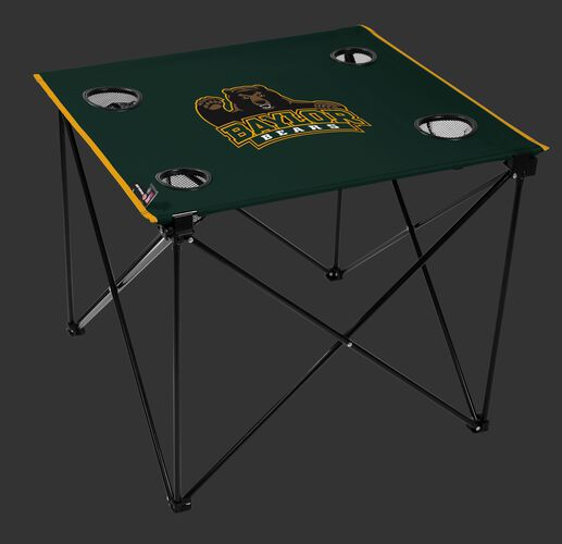 A green NCAA Baylor Bears deluxe tailgate table with four cup holders and team logo printed in the middle SKU #00713005111