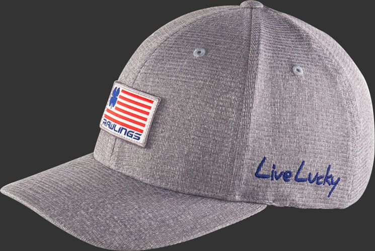 "Angle view of a grey Rawlings Black Clover RBC nation fitted hat with ""Live Lucky"" on the side - SKU: BCRBCN0061"
