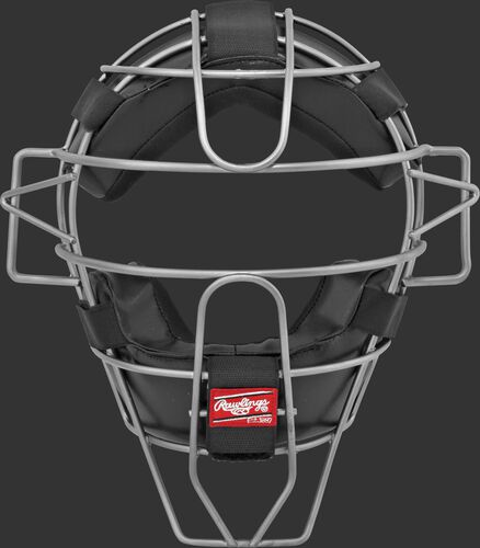 A LWMXTI-B umpire intermediate facemask with black padding and silver cage