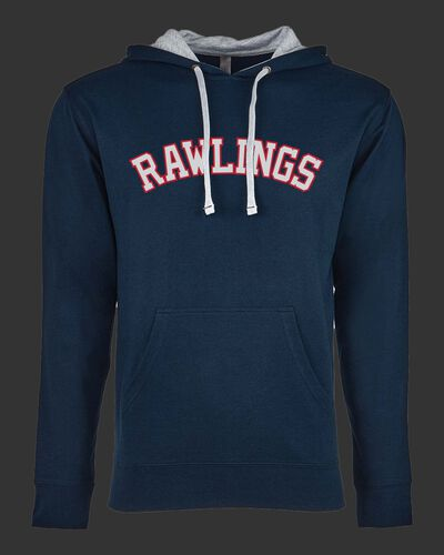 A navy Rawlings mid-weight French Terry hoodie with a gray hood and red/white lettering on the chest - SKU: RSGFH-N