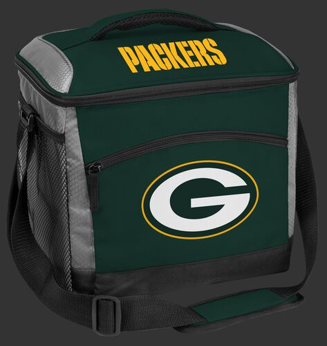 A green NFL Green Bay Packers 24 can soft sided cooler with screen printed team logos - SKU: 10211068111