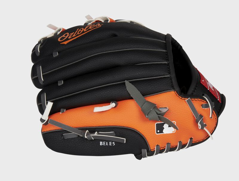 Back of a black/orange Baltimore Orioles 10-inch youth glove with the MLB logo on the pinky - SKU: 22000018111