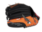 Back of a black/orange Baltimore Orioles 10-inch youth glove with the MLB logo on the pinky - SKU: 22000018111 image number null