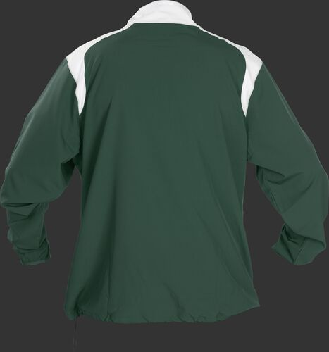 Back of Rawlings Dark Green Youth Long Sleeve Quarter-Zip Jacket - SKU #YFORCEJ-B-89