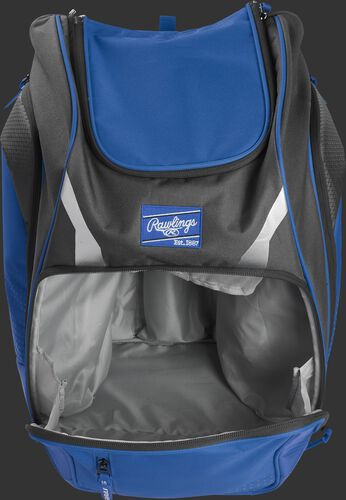 A royal Legion gear backpack with the main compartment open - SKU: LEGION-R