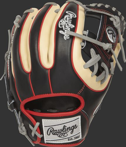 PROR314-2B Rawlings R2G glove with a black and camel back with scarlet double-welting