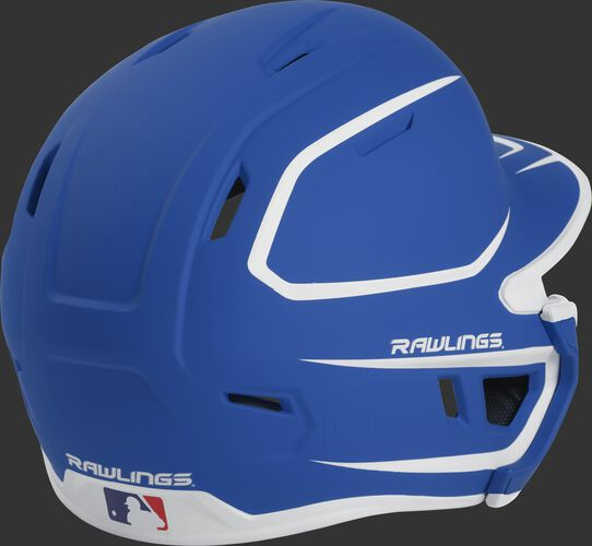 Back right of a two-tone matte royal/white MACHEXTR Rawlings senior size batting helmet