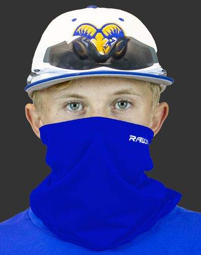 A player wearing a blue Rawlings protective neck gaiter over his mouth and nose - SKU: RMSKNG-BLU