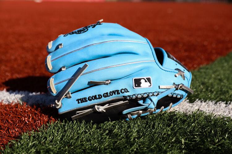 Back of a ColorSync 5.0 11.5-Inch infield glove on a field - SKU: PRO204-2BCB