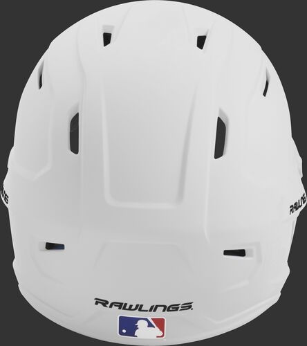 Back of a white MACH high performance senior helmet with the Official Batting Helmet of MLB logo