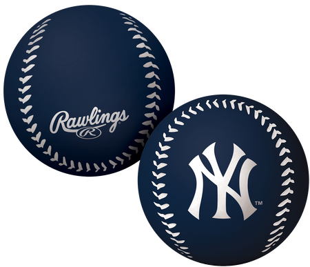 A navy New York Yankees Big Fly rubber bounce ball
