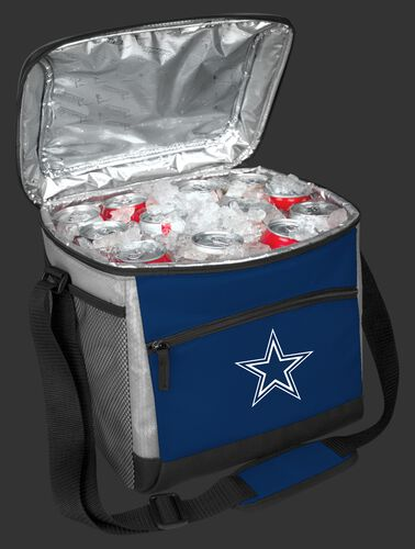 An open Dallas Cowboys 24 can cooler filled with ice and drinks - SKU: 10211065111