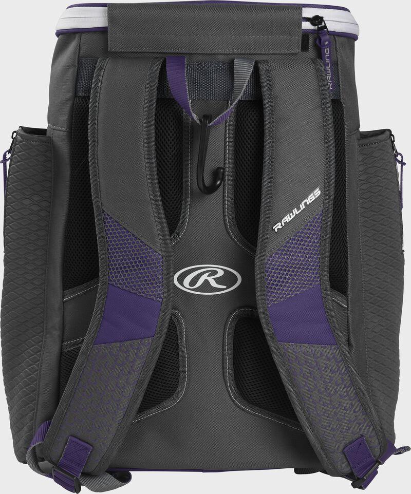Back of a purple Rawlings Impulse baseball backpack with gray shoulder straps - SKU: IMPLSE-PU