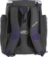 Back of a purple Rawlings Impulse baseball backpack with gray shoulder straps - SKU: IMPLSE-PU image number null