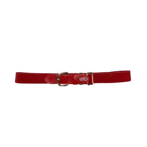 Front of Rawlings Scarlet Adult Adjustable Elastic Baseball Belt - SKU #BLT-RED