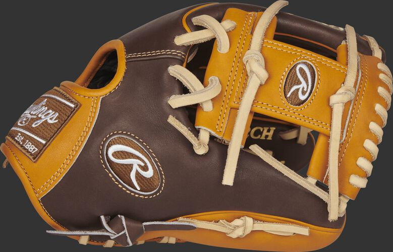 Thumb of a PROR205W-2CHBLEMA 11.75-inch Rawlings R2G BLEM infield glove with a tan I web