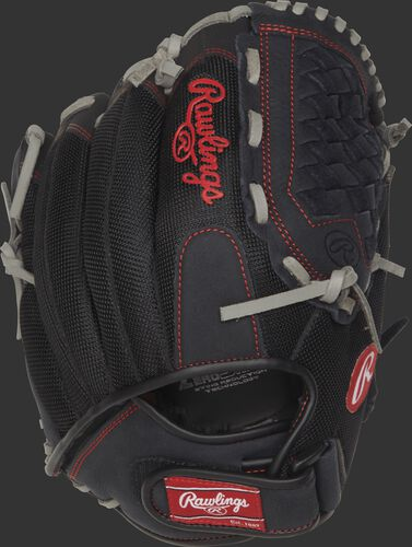 R120BGS 12-inch Renegade Series recreational baseball/softball glove with a black mesh back and Velcro wrist strap