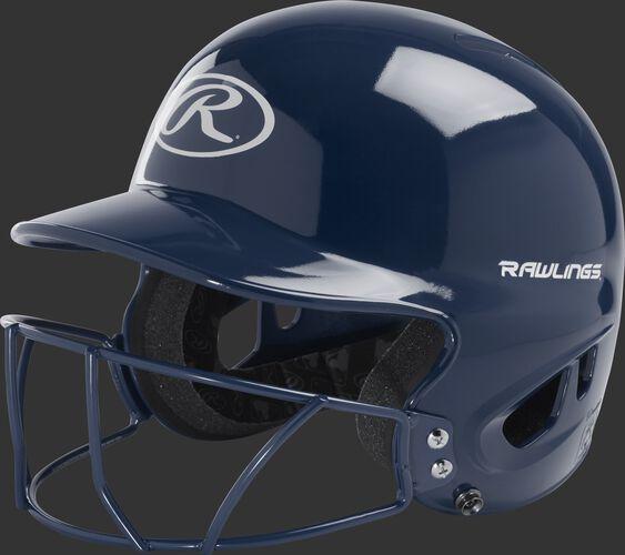 Front left of a navy MLB inspired t-ball batting helmet with a navy face guard - SKU: MODMLTBFG-N