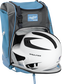 A white/black helmet in the main compartment of a Columbia blue Rawlings Franchise backpack - SKU: FRANBP-CB image number null