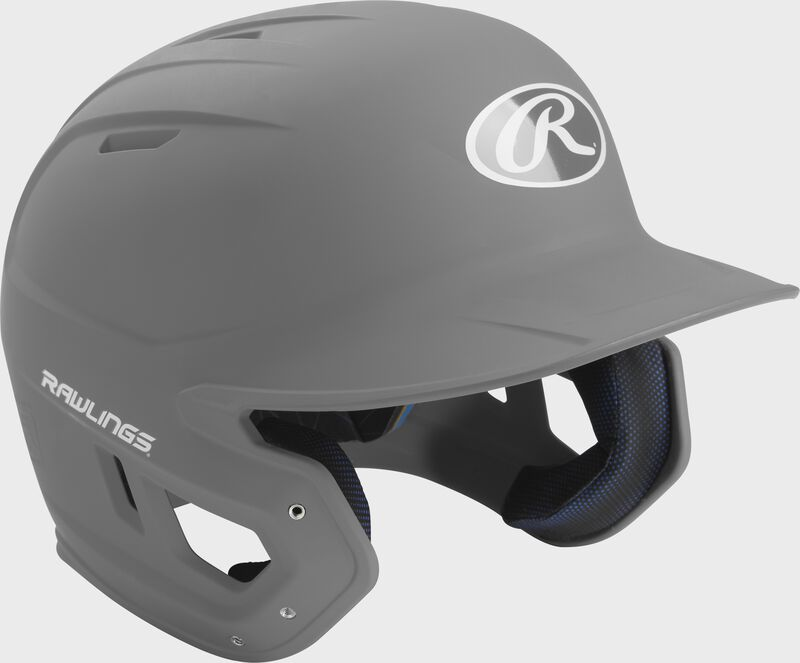 Right angle view of a matte MACH batting helmet with a silver shell