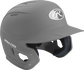Right angle view of a matte MACH batting helmet with a silver shell image number null