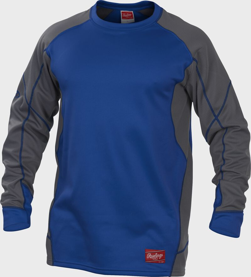 UDFP4 Royal blue Dugout fleece pullover with grey sleeves and royal stitching