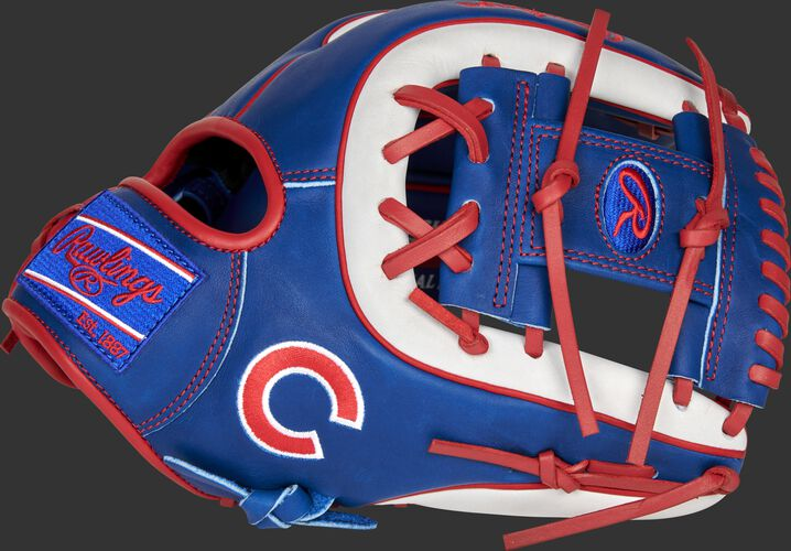 Thumb of a 2021 Chicago Cubs Heart of the Hide glove with the Cubs logo on the pinky - SKU: RSGPRO314-2CHC